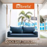 Twin Size Sunbrella Porch Swing Bed Cushion Cover and Pillow Set Bundle (75x39)
