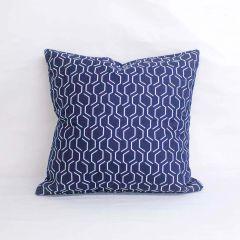 Throw Pillow Made With Sunbrella Adaptation Indigo 69010-0004