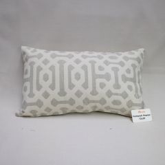 Throw Pillow Made With Sunbrella Fretwork Pewter 45991-0002 - Reversible (Dark Side)